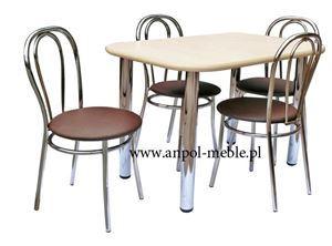 Obrazek Zestaw Nowatorski stół i 4 krzesła metalowe